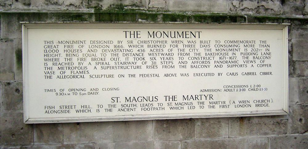 The Monument in central London commemorates the fire