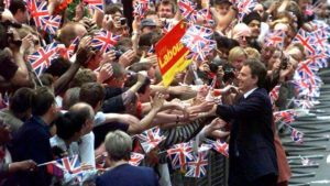 Tony Blair celebrates
