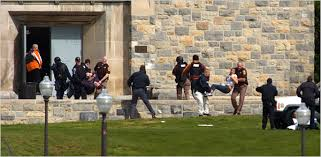 As well as looking for the shooter, the police took students out of the building