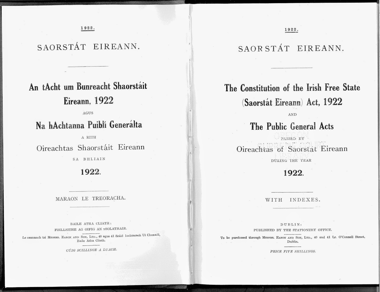 'The Free State of Ireland' was introduced in 1922
