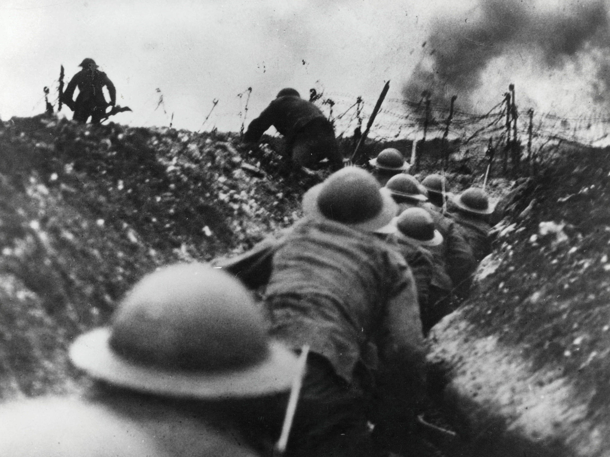 Going 'over the top' was the phrase for heading out of the trench and towards the enemy